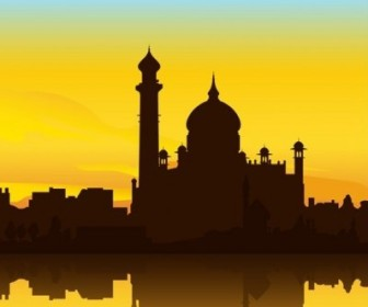 Vector Indianstyle Building Silhouette Silhouettes Vector Graphics