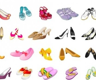 Vector Colors Different Styles Of Shoes Vector Art