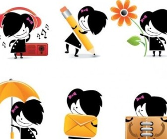 Vector Cute Cartoon Character Icons Icon Vector Graphics