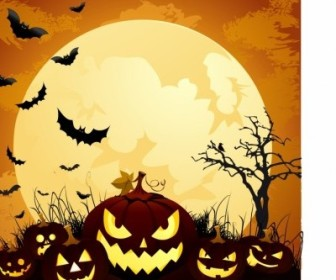 Vector Moonlight Halloween Pumpkins Vector Art
