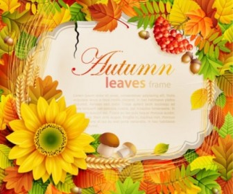 Vector Beautiful Autumn Leaves Frame 07 Background Vector Art