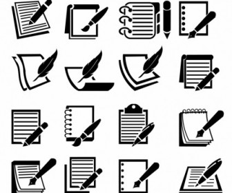 Vector Notebook And Pen Set Icon Vector Graphics