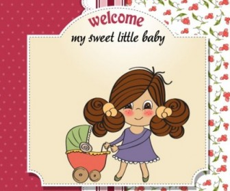 Vector Cute Girl Card 04 People Vector Art