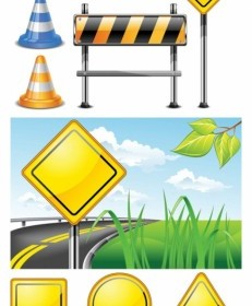 Vector Roadblock Signs Vector Art
