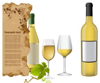 Vector White Wine Bottle And Glasses Vector Art