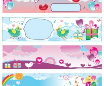 Vector Cute Valentine Day Vector Banner