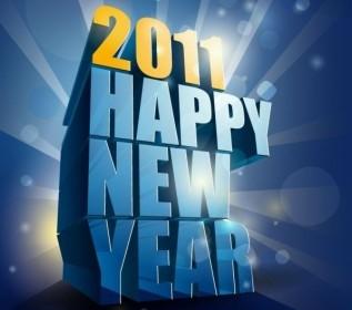 Vector Happy New Year 2011 3D Vector Art