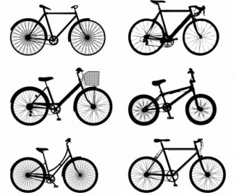 Vector Detailed Bike Silhouettes Vector Graphics