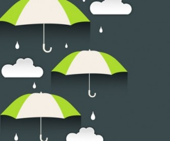 Vector Creative Umbrella Clouds Background Vector Art