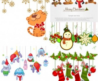 Vector Christmas Ornaments Cartoon Vector Art