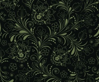 Vector Seamless Floral Dark Green Background Vector Art