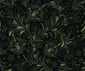 Vector Seamless Floral Dark Green Background Vector Art