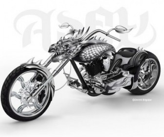 Vector Cool Motorcycle Leading Car Vector Art