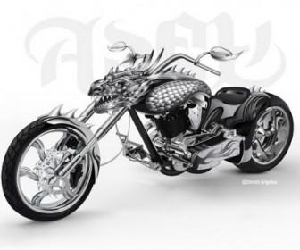 Vector Cool Motorcycle Leading Car Vector Art