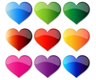 Vector Colorful Glass Hearts Heart Vector Art