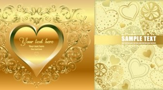 Vector Gold Heartshaped Background Vector Art