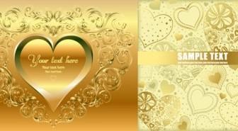 Vector Gold Heartshaped Background Vector Art