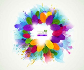 Vector Splash Colorful Flowers Background Vector Art