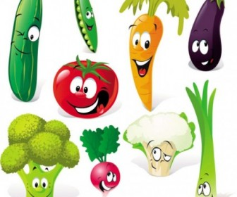 Vector Vegetables Expression 01 Cartoon Vector Art