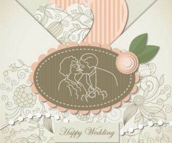 Vector Wedding Label 02 Background Vector Art