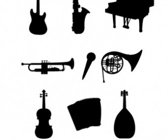 Vector Musical Instruments Silhouettes Vector Graphics