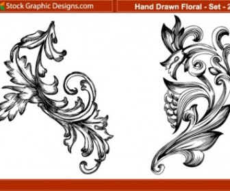 Vector Hand Drawn 2 Floral Vector Art