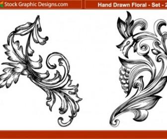 Vector Hand Drawn 2 Floral Vector Art