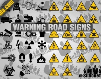 Vector Warning Road Signs Silhouettes Vector Graphics