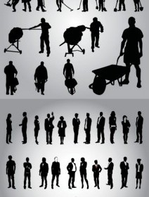 Vector Business And Workers In Silhouette People Vector Art