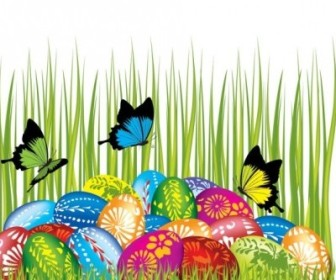 Vector Easter Cards And Decorations Butterfly Eggs 04 Vector Art