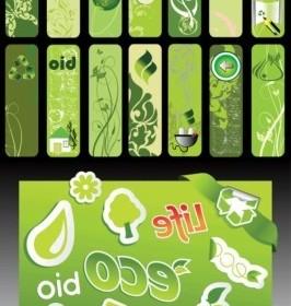 Vector Beautiful Green Living Series Vector Banner
