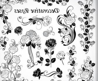 Vector Decorative Rose 02 Pattern Vector Art