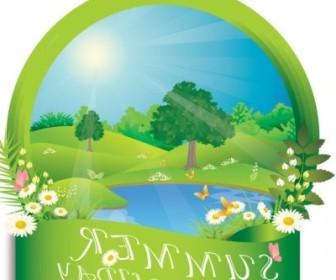Vector Summer Frame Landscape Vector Graphics