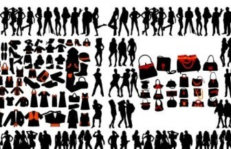 Vector And Women Clothes Silhouettes Vector Graphics