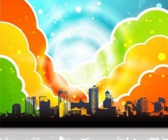 Vector Urban Rainbow Illustration Vector Art