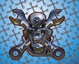 Vector Motorcycle Skull Vector Art