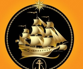Vector Gold Sailboat Vector Art