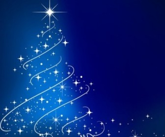 Vector Blue Tree Illustration Christmas Vector Graphics