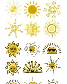 Vector Expression Cute Funny Sun Vector Art