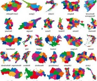 Vector Colorful Map Silhouette 2 Silhouettes Vector Graphics