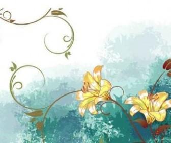 Vector Watercolor Flower Background Vector Art