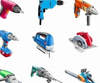 Vector Electric Tools Set Vector Art