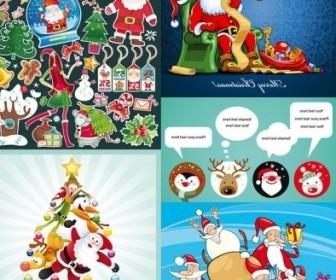Vector Several Cute Theme Christmas Vector Graphics
