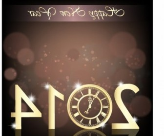 Vector New Year Clock 2014 Vector Art