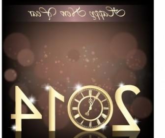 Vector New Year Clock 2014 Vector Art