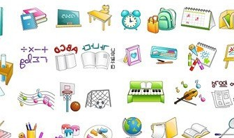 Vector School Items Material Icon Vector Graphics