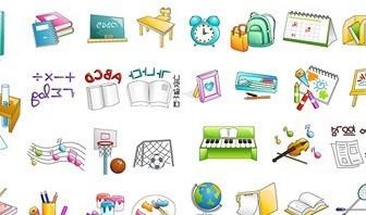 Vector School Items Material Icon Vector Graphics
