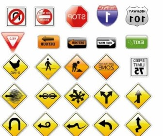 Vector Road Signs Vector Art
