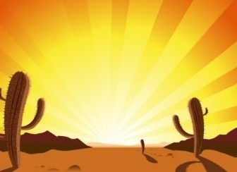 Vector CACTUS IN DESERT SUNRISE Vector Art