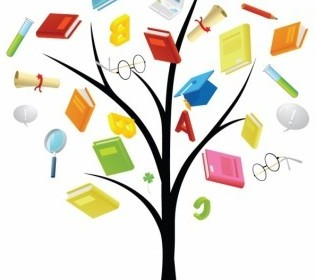 Vector Book Knowledge Tree Vector Art